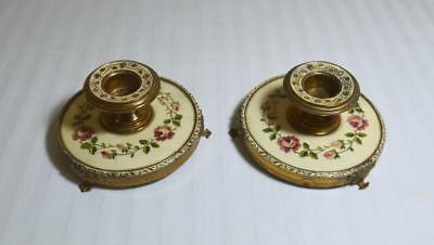 Vtg/Antique Pair Etched Brass Candlesticks w/ Hand Embroidered Flowers Bases