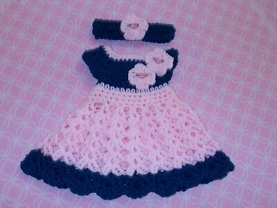 Hand crochet baby girl set, dress,and headband by Rocky Mountain Marty