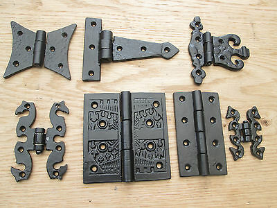 1 pair CAST IRON BLACK ANTIQUE  KITCHEN CABINET CUPBOARD DOOR GATE HINGES