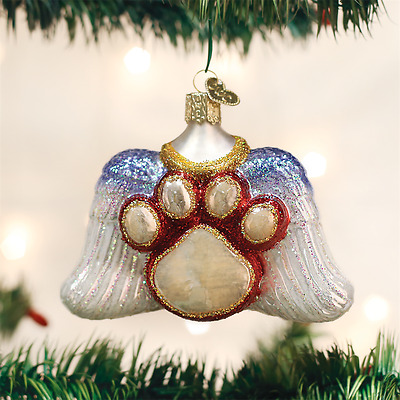 Old World Christmas Beloved Pet Memorial Angel Wings Dog Cat Xmas Ornament 12478