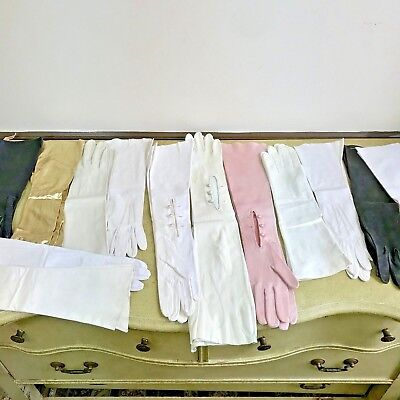 Lot of 13 Vintage Ladies Gloves Opera Evening Leather & More France Italy