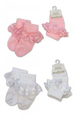 Baby Girl White Pink Lace Frilly Socks Quality Summer Sun Party 0-2.5 /& 3.5.5