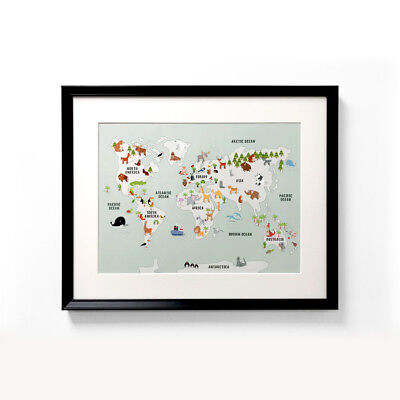 Children's A3 Animal Map Nursery Poster Print Wall Art for Kids Room