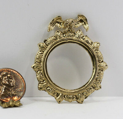 *SALE* Dollhouse Miniature 1:12  Round Eagle Frame in Gold Metal