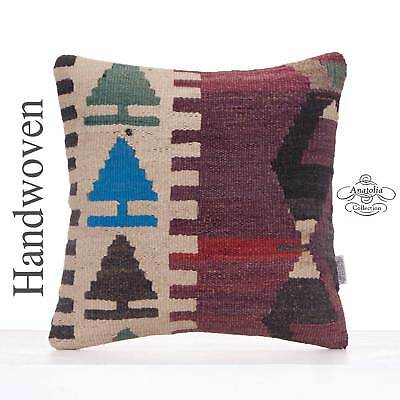 "Tribal Kilim Pillowcase 16x16"" Handmade Turkish Vintage Cushion Cover"