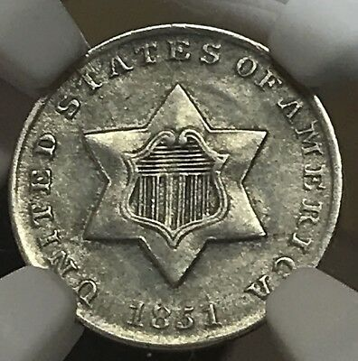1851 Three Cent Silver 3CS NGC Unc Details. Cleaned.  Attractive.