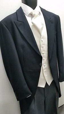 MEN`S New Black MORNING TAIL COATS Weddings Royal Ascot Classic Herring Bone