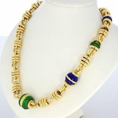 Wert 10.200,- Edle 585 / 14 Kt Gelb Gold Emaille Collier-Kette 46 Cm! Sale Italy