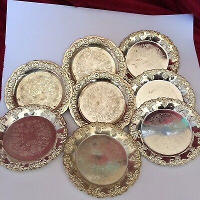 Silver Plated Coasters X8
