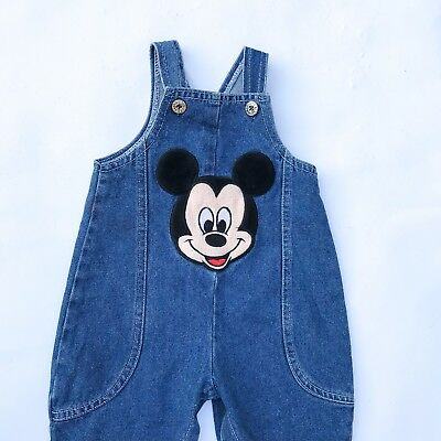 Vintage Baby Kids Mickey Mouse Disney 90s Denim Overalls Unisex Dungarees 0-6 M
