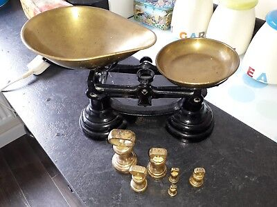 Retro Librasco Cast Iron Kitchen Balance Scales + 6 Brass Imperial Bell Weights