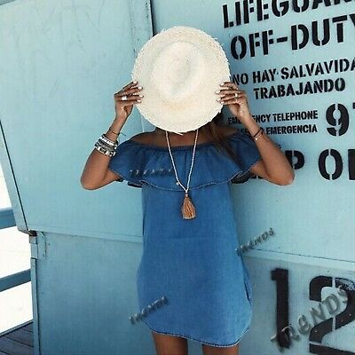 New Fashion Short Sleeve Summer Style Loose Denim Dress For Women