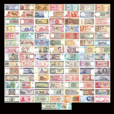 100 Pcs of Different World Mix Mixed Foreign Banknotes Currency Lot New Unc