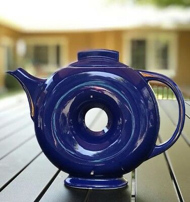 Rare Hall donut teapot in Cobalt Blue and gold