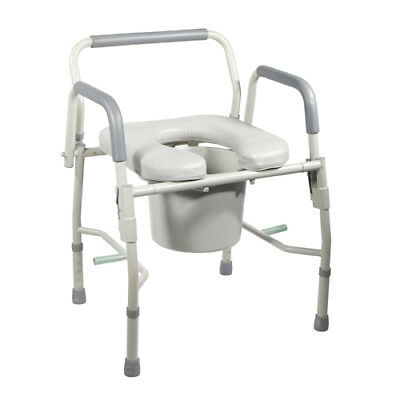 NEW Drive Medical Deluxe Steel Drop Arm Bedside Commode (Cat#11125PSKD-1)