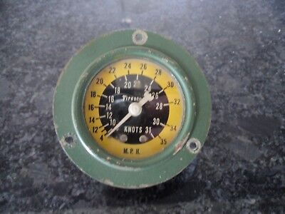 Vintage Green Firestone Knots MPH Boat Speedometer Gauge