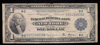 1918 $1 Dollar New York National Currency Paper Note  Circulated