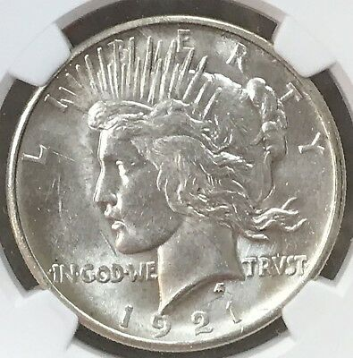 1921 Peace Dollar High Relief NGC MS 62. White, Flashy.  Strong Strike. Lustrous