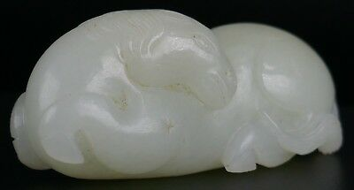Fine Old Chinese White Jade Horse Carving Sculpture Scholar Art #4
