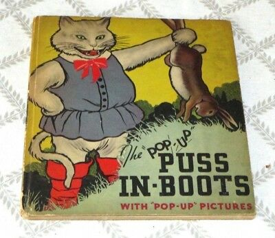 1934- Puss In Boots Pop Up Picture Children Book- 1St Edition-Harold Lentz