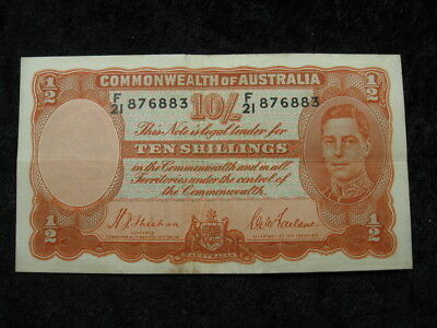 1 old world foreign banknote AUSTRALIA 10 shillings P25 1939 George VI FREE S&H