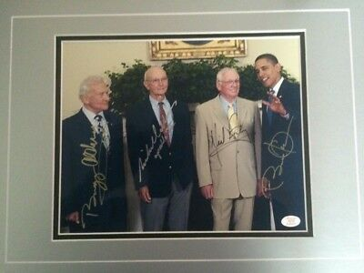 APOLLO 11 SIGNED AUTOGRAPHED 8x10 NEIL ARMSTRONG BUZZ ALDRIN COLLINS and OBAMA