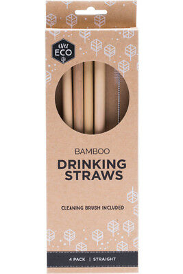 Ever Eco Bamboo Drinking Straws with Cleaning Brush Pack of 4 Reusable Straws