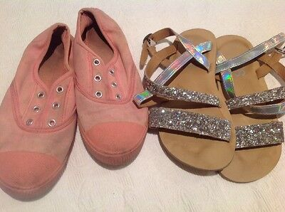 Girls Canvas Shoes And Glitter Sandals Size 2 Cotton On Kids