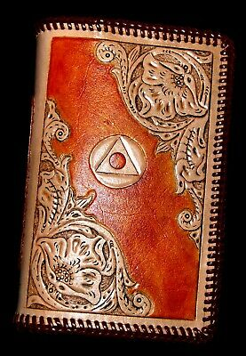 AA Big Book Cover - Carved Veg Tan Leather w/ Double Loop Lacing