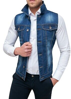 huge selection of 2a127 61e6f SMANICATO JEANS UOMO Diamond Giubbotto Gilet Cardigan Blu Slim Fit Aderente
