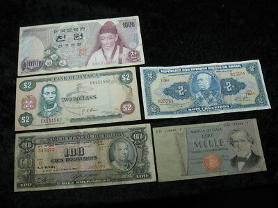 5 assorted old world foreign banknote lot #1 FREE S&H