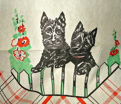Vintage Paper Picnic Table Cloth Scotty Dogs Galore! Clean Large Beauty