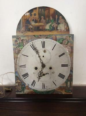 """N172 Antique Long Case/Grandfather Clock Dail & Movement Arched - 13"""" by 18.5"""""""