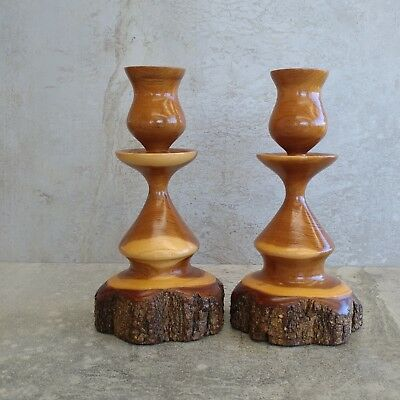 2 Vintage Australian Mulga Wood Candlesticks Candle Holders Pair Woodgrain 17cm