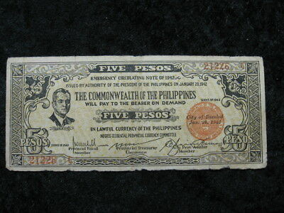 1 emergency WW II Guerilla currency lot PHILIPPINES BACOLOD 5 pesos 1942 Quezon