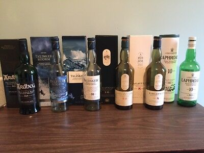 Scotch Whisky 6 Bottle Collection Classic Islay/Skye Peaty Whisky Complete