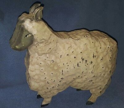 "Vintage TIN metal white/gray sheep figure 10"" tall"