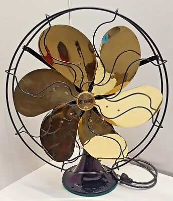 "Restored 1920's Emerson Brass 6-Blade 16"" Oscillating 3-Speed Electric Fan 29668"