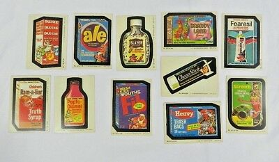 1980 TOPPS Wacky Packages Stickers 11 pc Trading Cards Lot Slayer Ram a Liar Fib