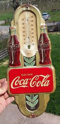 Original 1941 Drink Coca Cola Advertising Thermometer Sign Coke