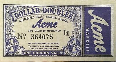 Vintage Acme Markets Dollar Double Customers Profit Sharing Coupon