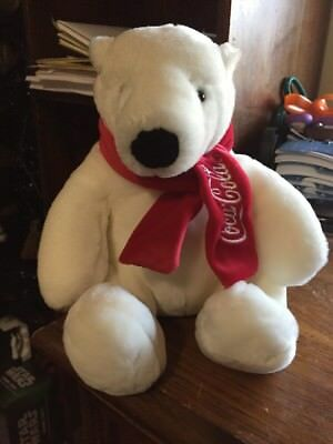 "Coca Cola Boyds Bear with Red Scarf  Seated 10"" Tall  New with Tags"