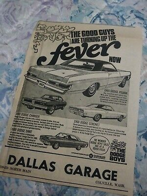 dodge ad charger rt rare dart 340 gts coronet poster photo 68 69 vintage