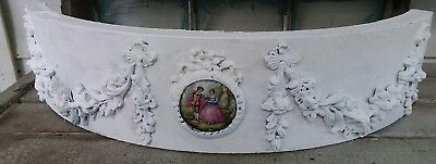 Old Antique Ornate Wood Metal Porceain Salvage White ARCHITECTURAL  Header A