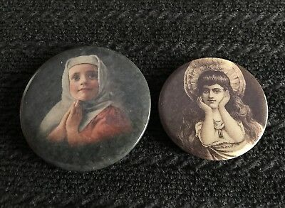 Lot Of 2 Vintage Pocket Mirrors Depicting Young Girls Maybe Religious