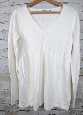 Duo Maternity Womens Size Large Babydoll Sweater Empire Knit Shirt V Neck L Top