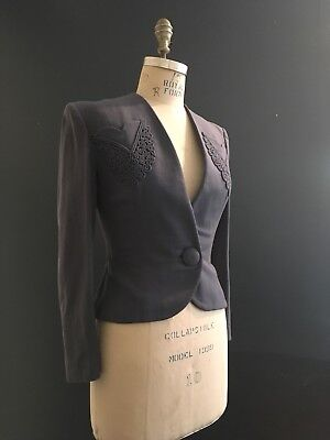 Antique Vintage 1940s Womens Jacket Wool Blazer Beautiful Details, Pockets