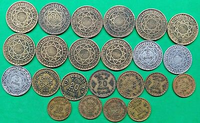 Lot of 23 Old French Morocco Coins All Date AH1370-71 1950-51 North Africa  !!