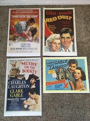 Vtg Gone With The Wind Clark Gable Movie Posters Prints Lithographs Lot Of 4