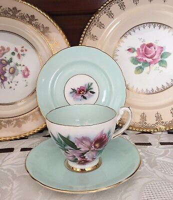 Vintage Hammersley Bone China Made In England Pale Green & Floral Trio C1939+